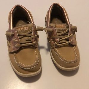 Tan and Rose Gold Toddler Sperry